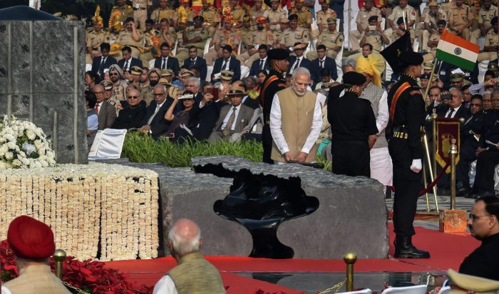 Prime Minister Narendra Modi during the inauguration of National Police Memorial, on the occasion of the Police Commemoration Day, at Chanakyapuri, New Delhi on Sunday. PTI