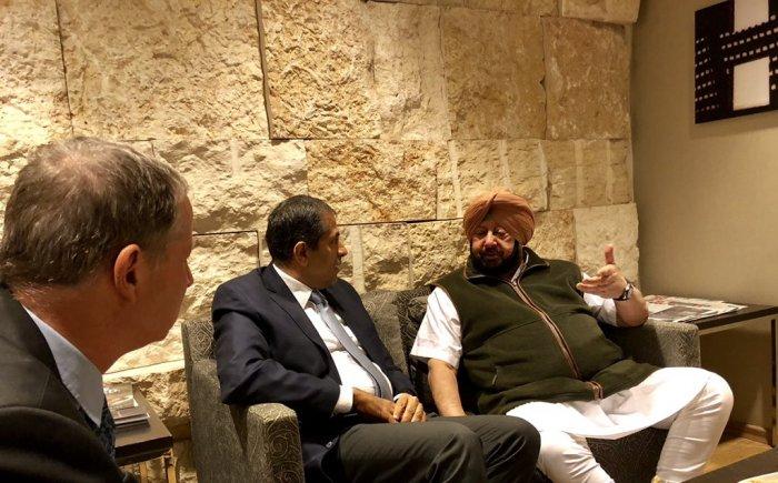 Punjab Chief Minister Amarinder Singh meets Indian Ambassador Pawan Kapoor at Tel Aviv. (Image courtesy: Twitter/@capt_amarinder)