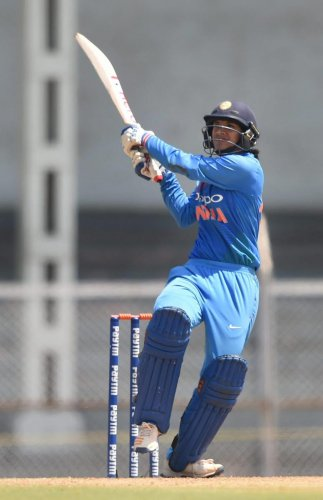 IN A CLASS OF HER OWN Smriti Mandhana's 72 helped India 'A' women beat Australia 'A' in the first T20 in Mumbai on Monday. PTI FILE PHOTO