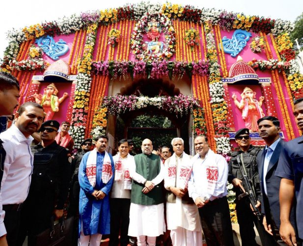 Amit Shah in Kamakhya temple in Guwahati on Wednesday morning