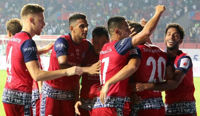 Jamshedpur FC players celebrate after taking the lead against ATK. PTI