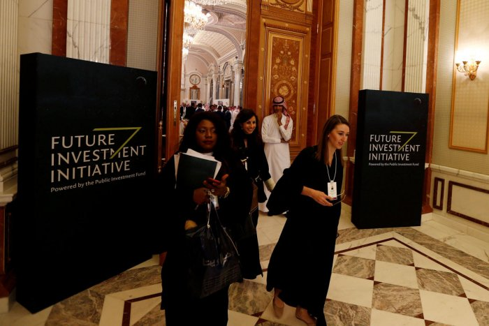 FILE PHOTO: Participants walk during the Future Investment Initiative conference in Riyadh, Saudi Arabia October 24, 2017. REUTERS/Faisal Al Nasser/File Photo