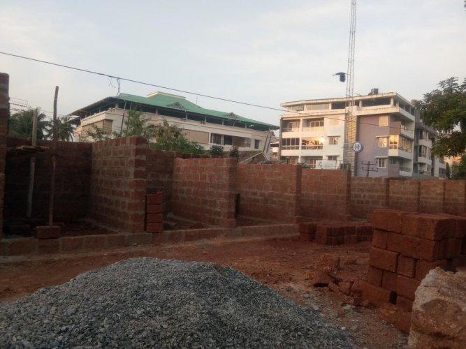 The work in progress on temporary stalls in Kadri market, Mangaluru.