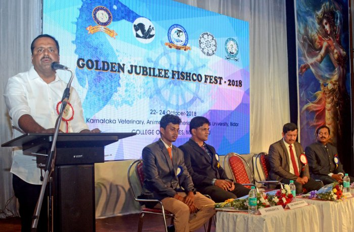 District Minister U T Khader speaks after inaugurating golden jubilee Fishco Fest 2018, a three-day inter-college literary and cultural competitions, at Fisheries College in Mangaluru on Monday.