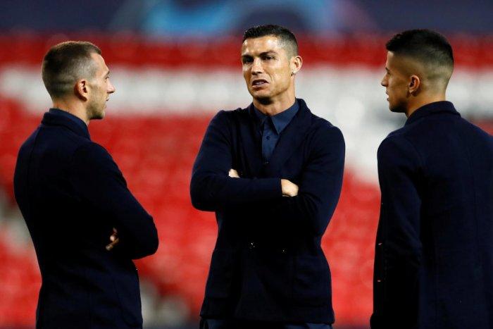 Juventus' Cristiano Ronaldo and team-mates at the Old Trafford. Reuters