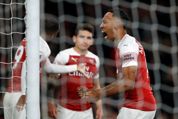 Arsenal's Pierre-Emerick Aubameyang celebrates after scoring against Leicester City on Monday.