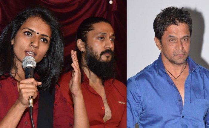 Actors Sruthi Hariharan, Chetan and Arjun Sarja.