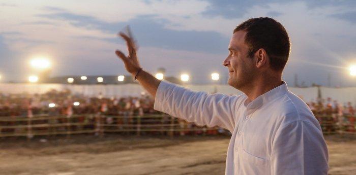 Congress president Rahul Gandhi waves at crowd during a public meeting in Kota, Rajasthan on Wednesday. PTI