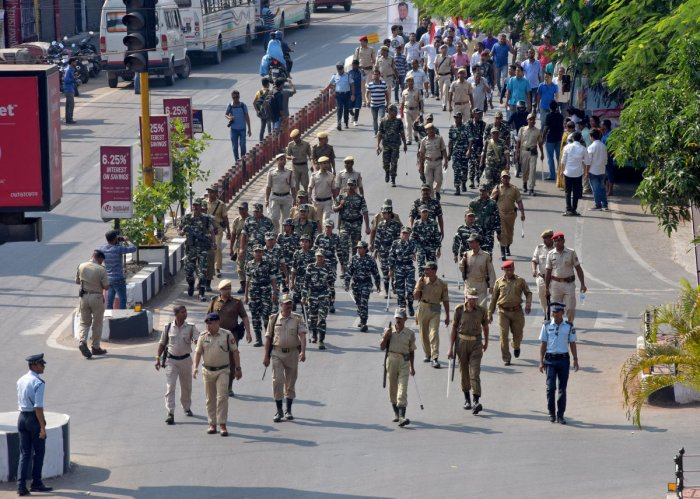 Security personnel keep vigil as supporters of Asom Gana Parishad (AGP) rally against the Centre's decision to clear the Citizenship (Amendment) Bill, 2016, in Guwahati on Tuesday. REUTERS