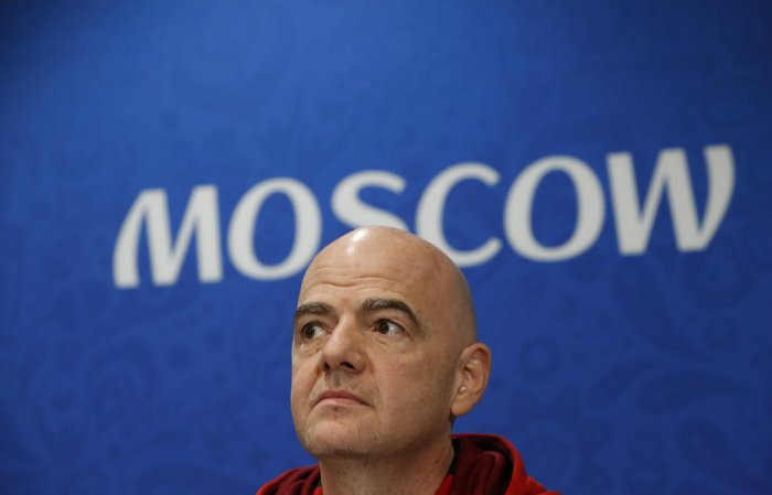 FILE PHOTO: FIFA President Gianni Infantino attends a news conference at the Luzhniki Stadium in Moscow, Russia July 13, 2018. REUTERS/Sergei Karpukhin/File Photo