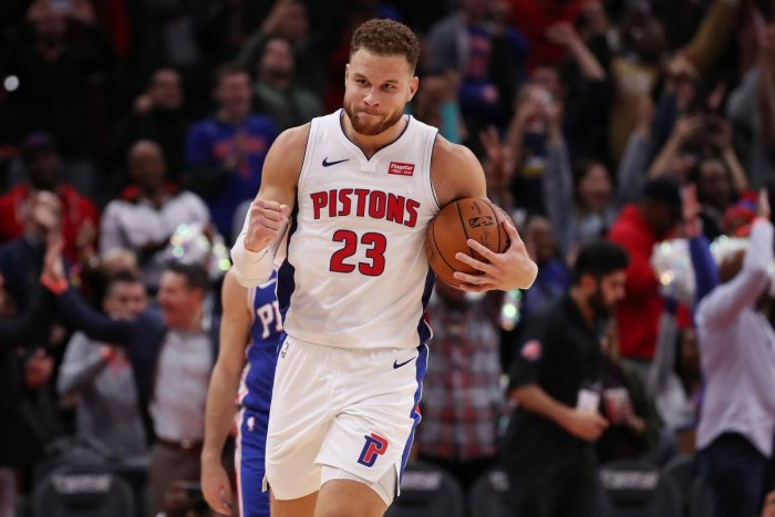 DETROIT, MI - OCTOBER 23: Blake Griffin #23 of the Detroit Pistons celebrates a 133-132 overtime win over the Philadelphia 76ers at Little Caesars Arena on October 23, 2018 in Detroit, Michigan. NOTE TO USER: User expressly acknowledges and agrees that, b