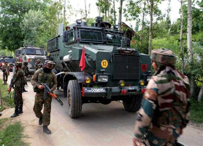 Reports said the gunfight erupted after personnel from the Army's 52-Rashtriya Rifles, police and paramilitary Central Reserve Police Force (CRPF) launched a cordon-and-search operation in Athoora area of Kreeri, 35 kilometres from Srinagar, following 'credible input' about the presence of the militants in the area. (PTI File Photo)