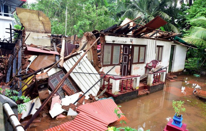 A view of a totally damaged house at Anegundi in Mangaluru after rain lashed Mangaluru City on Tuesday. A total of 30 hosues were completely damaged in Mangaluru alone.