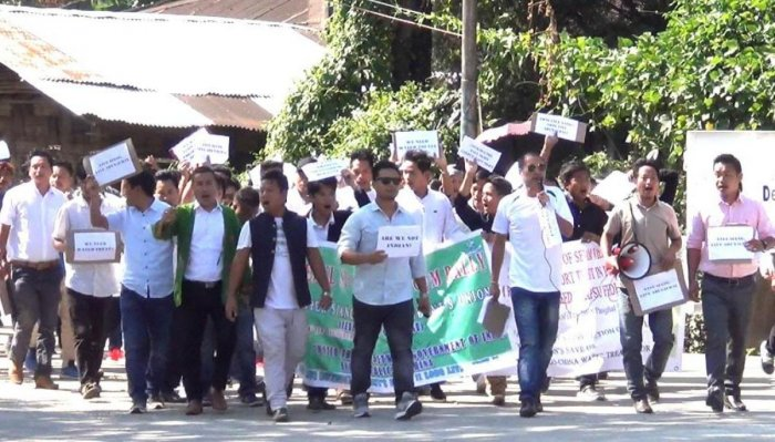 Students' protest in East Siang district, Arunachal Pradesh on Thursday. Pix by Litem Eshi Ori