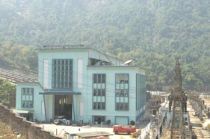 The Sharavathy Generating Station nearKargal in Sagar taluk, Shivamogga district.