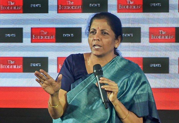 Defence Minister Nirmala Sitharaman speaks during 'The Economist India Summit', in Mumbai on Thursday.PTI