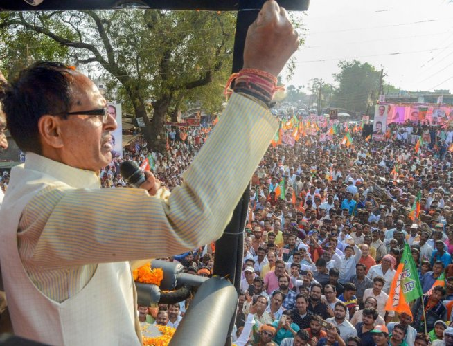 Madhya Pradesh Chief Minister Shivraj Singh Chouhan addresses a rally during his 'Jan Arashirvad Yatra' in Jabalpur, on Thursday. PTI