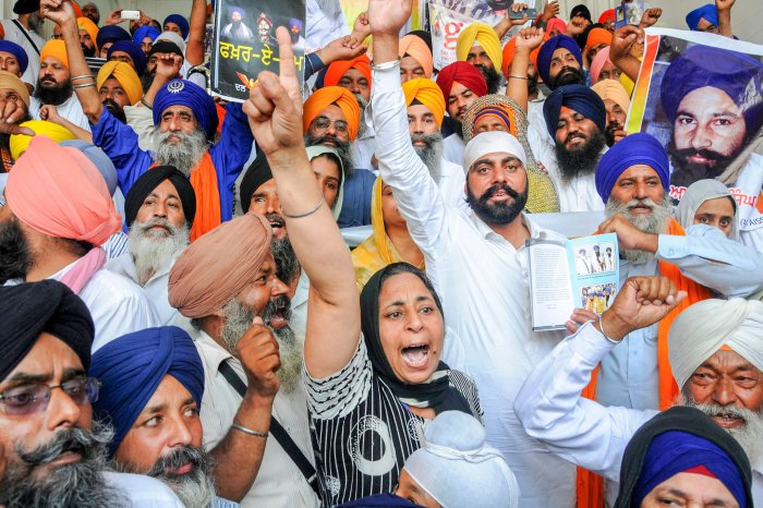 Supporters of radical Sikh organisations shout pro-Khalistan slogans at a demonstration marking the 34th anniversary of the Operation Blue Star,1984, at Golden Temple in Amritsar on Wednesday. PTI