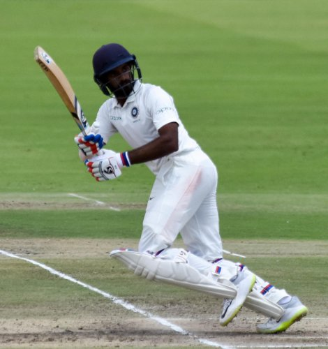 R Samarth of India 'A' slammed 83 against Australia 'A'. DH PHOTO/B H SHIVAKUMAR
