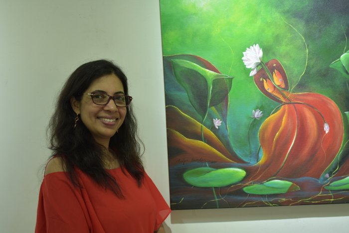 Vidya Sundar with one of her artworks.