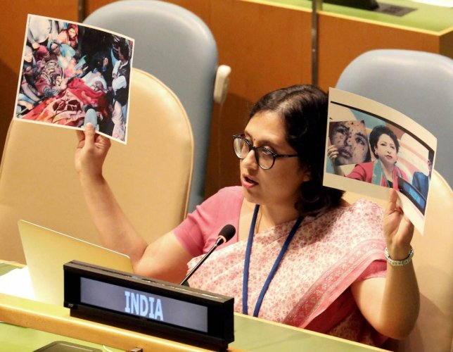 Paulomi Tripathi, Permanent Mission of India to UN reply to Pakistan at UNGA with real picture of Pak-sponsored terrorism in J&K, during the 72nd United Nations General Assembly (UNGA) in New York on Monday. Credit: PTI Photo