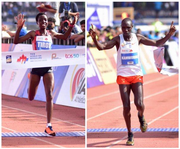 Agnes Tirop (left) and Geoffrey Kamworor of Kenya win the TCS World 10K in Bengaluru on Sunday. DH Photo/ B H Shivakumar