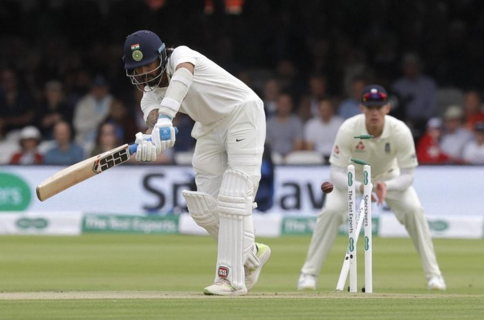 India's Murali Vijay is bowled by England's James Anderson (not in picture) during the second day of the second Test match between England and India at Lord's on Friday. AP/PTI