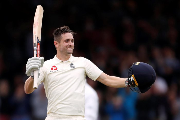 England's Chris Woakes celebrates after reaching his maiden Test hundred against India on the third day of the second Test at Lord's in London on Saturday. Reuters