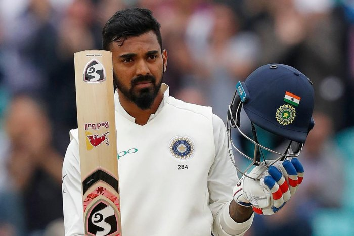 India's KL Rahul celebrates his century on the final day of the fifth Test at The Oval on Tuesday. AFP