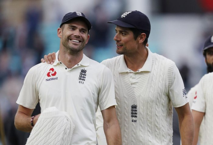 James Anderson (left) shared a special relationship with his ex-skipper and team-mate Alastair Cook who played his last Test at the Oval on Tuesday. AFP