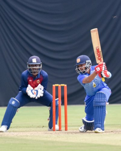 ON SONG Mumbai's Pruthvi Shaw sends one to the fence en route his century against Railways in the Vijay Hazare Trophy match at the M Chinnaswamy Stadium in Bengaluru on Sunday. DH Photo/ B H Shivakumar
