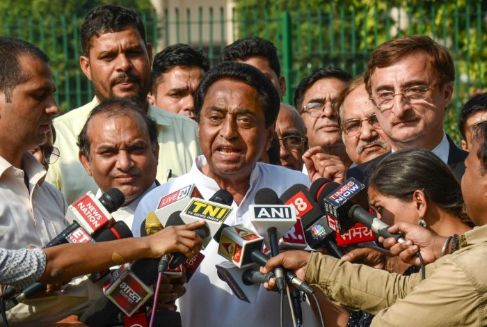 Senior Congress leader Kamal Nath talks to the media after a hearing by the Supreme Court on the petition filed by him for proper verification of Voter Verifiable Paper Audit Trail (VVPAT) and other issues related to the forthcoming Assembly elections in