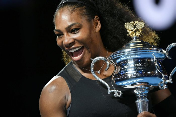 Serena Williams with the Australian Open trophy in 2017. File photo