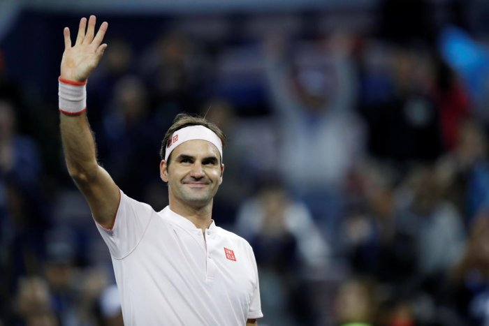 Switzerland's Roger Federer celebrates after beating Daniil Medvedev of Russia on Wednesday. REUTERS