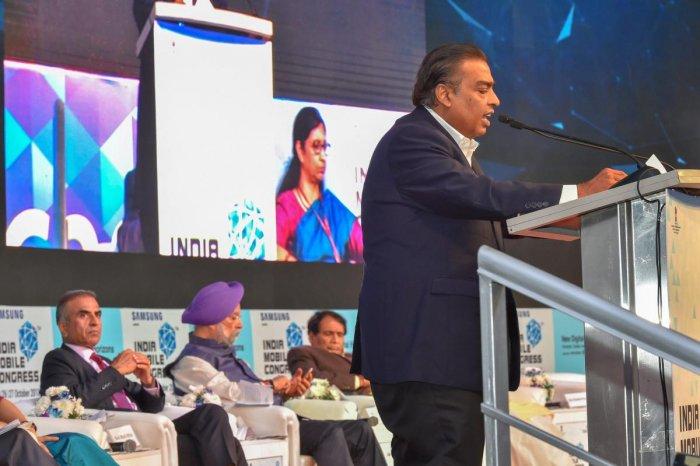 Reliance Industries Ltd. Chairman Mukesh Ambani speaks during the Indian Mobile Congress 2018 at Aerocity in New Delhi. PTI photo
