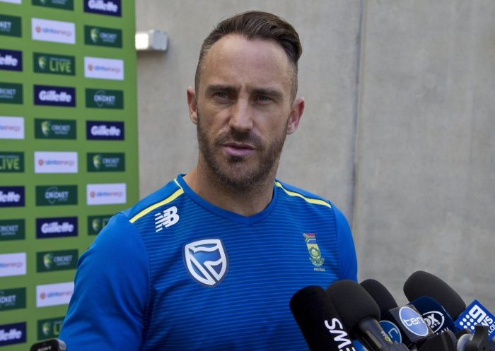 South African captain Faf du Plessis addresses a press conference at the Optus Perth Stadium in Perth on Friday. AFP