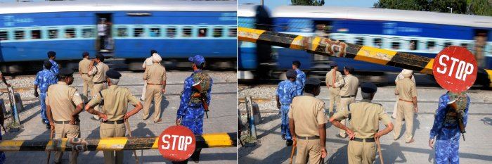 This combo of two images shows the railway gate at Joda Phatak open partially even before the train had passed completely, in Amritsar. Police stand guard near the crossing where a train mowed down several people while they had gathered to attend Dussehra celebrations on Friday. PTI