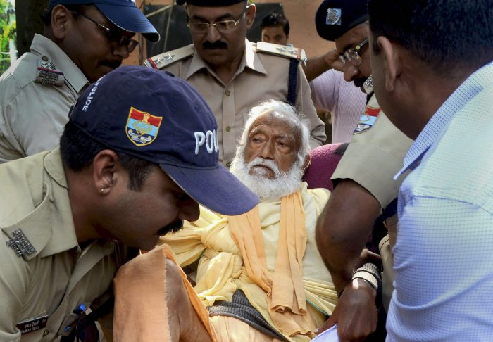 In this photo dated October 10, 2018, is seen environmentalist G D Agarwal, who was on fast unto death since June 22 for a clean River Ganga, being forcibly taken to the hospital after his health detriorated in Haridwar. Agarwal passed away on October 11, 2018 at AIIMS Rishikesh following a heart attack. PTI file photo