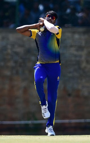India B off-spinner K Gowtham will look to continue his good form in the Deodhar Trophy final against India C. DH File Photo
