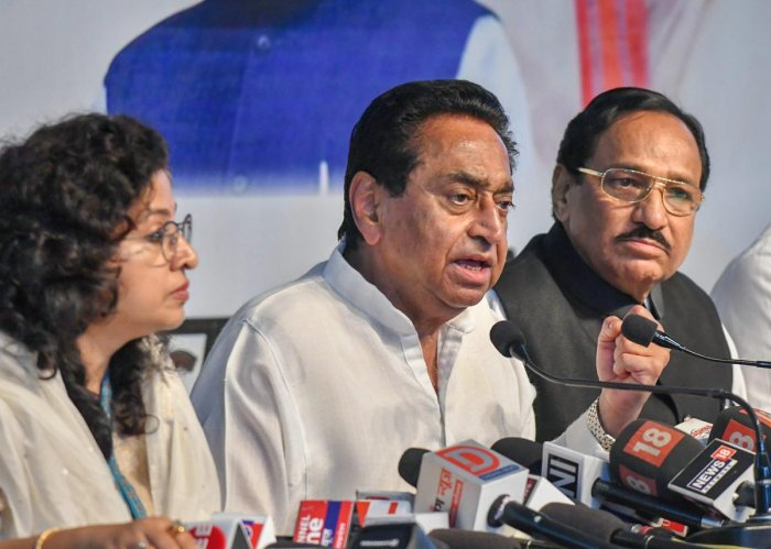 Madhya Pradesh Congress Committee President Kamal Nath addresses a press conference at state party headquarters in Bhopal on Tuesday. PTI