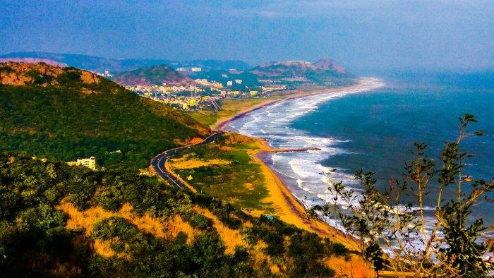 A view of the coastline in Vizag, Andhra Pradesh