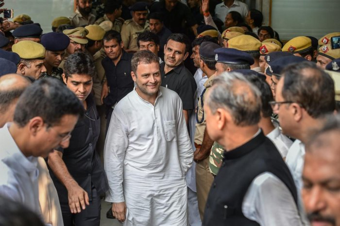 A Congress-led government would fulfil all the commitments the party had made on the 'one rank, one pension' issue, Rahul Gandhi told a group of ex-servicemen on Saturday. PTI photo