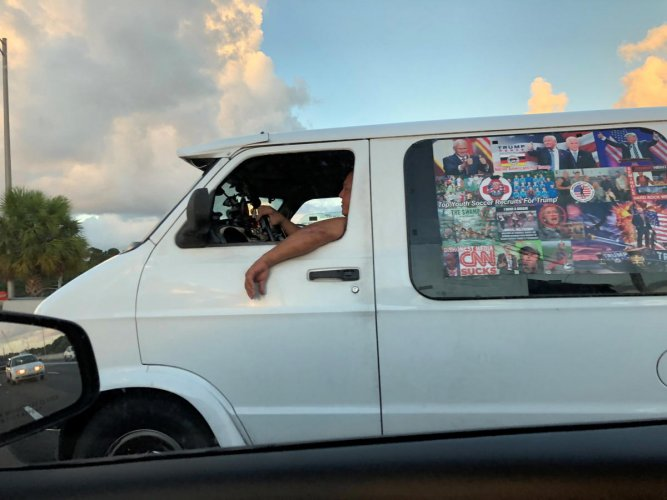 Cesar Sayoc's van is seen in Boca Raton, Florida, U.S., October 18, 2018 in this picture obtained from social media. ED KENNEDY/via REUTERS