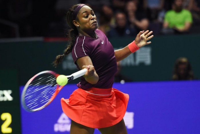 POWER PACKED Sloane Stephens of US returns during her win over Czech Republic's Karolina Pliskova in the semifinals on Saturday. AFP