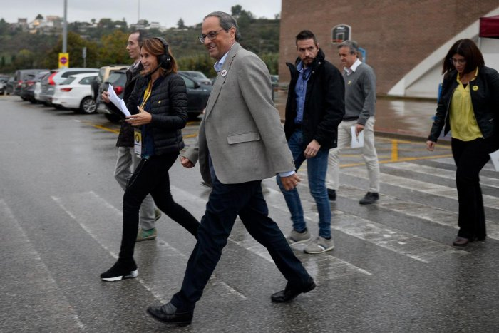 Catalan regional president Quim Torra (C) arrives to attend the founding convention of the new Catalan separatist party 'Crida Nacional' (National Call) in Manresa. AFP