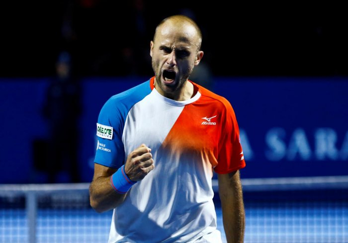 GIANT KILLER: Romania's Marius Copil reacts after winning a point against Germany's Alexander Zverev in the Swiss Indoors semifinal.REUTERS