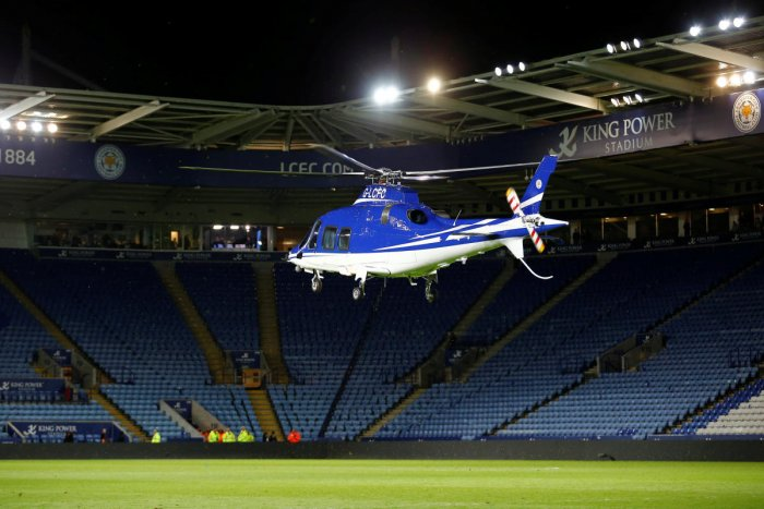 FILE PHOTO: Britain Soccer Football - Leicester City v Chelsea - Barclays Premier League - King Power Stadium - 14/15 - April 29, 2015 General view as a helicopter lands in the stadium at the end of the match Reuters/Darren Staples/File Photo EDITORIAL US