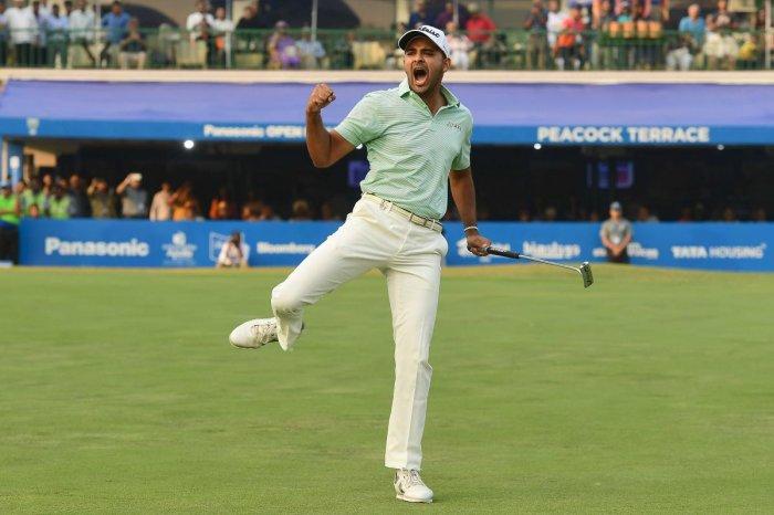 COMMON! Bengaluru pro Khalin Joshi exults after winning the Panasonic Open India golf tournament at the Delhi Golf Club in New Delhi on Sunday. ASIAN TOUR