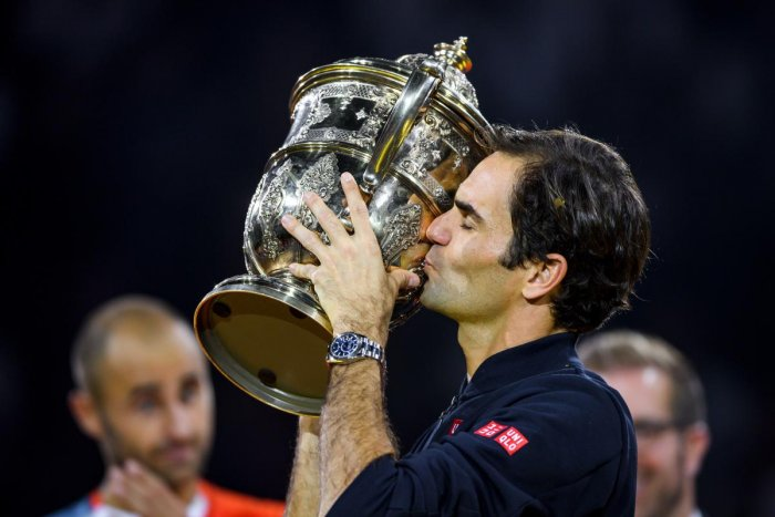 ONE SHORT OF CENTURY: Switzerland's Roger Federer kisses the trophy after his win over Romania's Marius Copil in the final of the Swiss Indoors ATP 500 tennis tournament. AFP