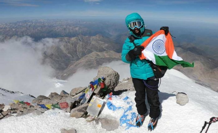 Nanditha Nagangoudar on top of Russia's Mount Elbrus. Photo provided by Nanditha